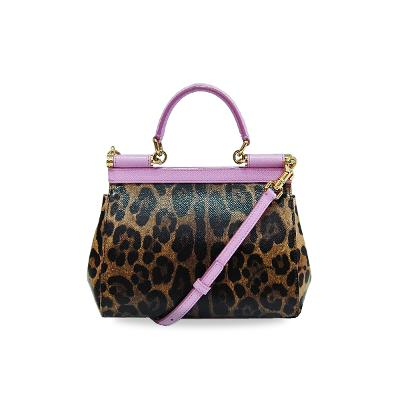 small sicily bag leopard textured pink